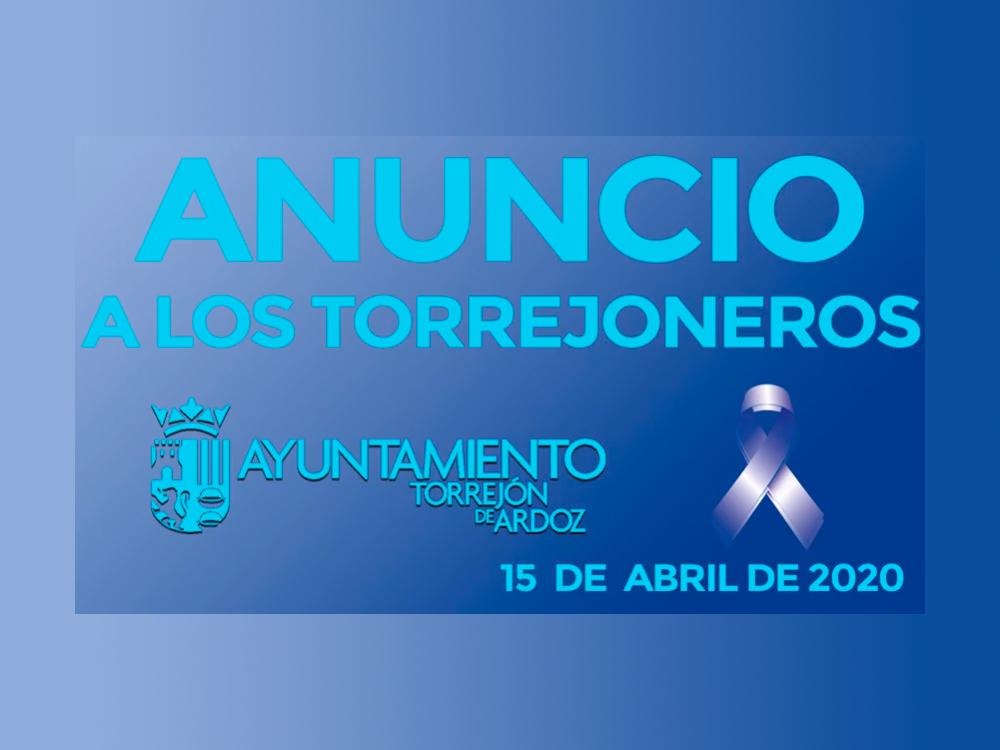 Anuncio a los torrejoneros: Torrejon de Ardoz es la 1ª ciudad de España que reparte 10 mascarillas gratuitas en todas las viviendas de sus vecinos,por indicacion del alcalde