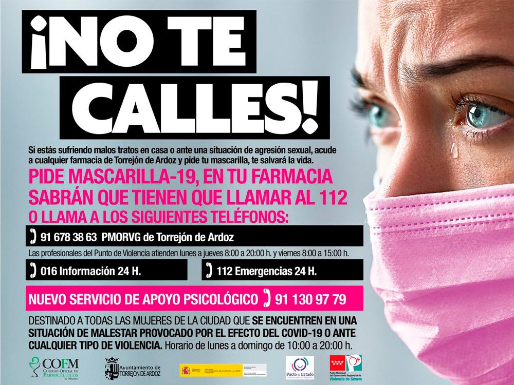 """Las mujeres que sufran violencia de género pueden llamar directamente a los teléfonos de emergencia o pedir esta ayuda en las farmacias de Torrejón de Ardoz mediante la petición """"Mascarilla 19"""""""